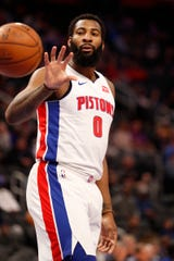 Detroit Pistons center Andre Drummond (0) reaches for a pass during the first quarter against the Memphis Grizzlies at Little Caesars Arena on April 09, 2019 in Detroit.