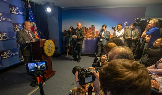 Mayor Mike Duggan gives a press conference Wednesday, April 10, 2019 at his press room at the Coleman A. Young Building in Detroit.