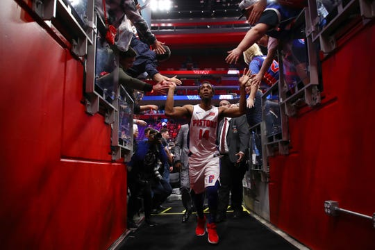 Ish Smith #14 of the Detroit Pistons leaves the floor after a 100-93 win over the Memphis Grizzlies at Little Caesars Arena on April 09, 2019 in Detroit, Michigan.