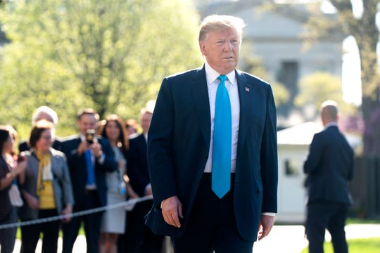 President Donald J. Trump speaks to the media before departing for fundraisers in Texas outside the White House in Washington, D.C. on April 10, 2019.