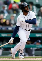 Tigers first baseman Niko Goodrum hits a two-run home run during the first inning on Wednesday, April 10, 2019, at Comerica Park.