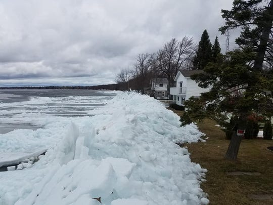 Ice pushed up on shore following wind from Houghton Lake near Korbinski's Marine & Lakeview Motel this week in April 2019. The ice damaged four cottages.