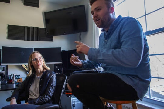 Naomi Burton, 29 and Nick Hayes, 22, both of Detroit are the founders of Means TV, an anti-capitalist, on-demand digital streaming platform that plans to launch later in the year. Burton and Hayes are photographed at their home, where they work out of, on the eastside of Detroit on Tuesday, April 9, 2019.