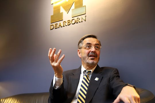 Domenico Grasso, the Chancellor at University of Michigan - Dearborn, speaks in his office on campus about the future of the school and his academic initiatives on Wednesday, April 10, 2019.