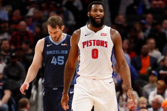 Detroit Pistons center Andre Drummond yells out in front of Memphis Grizzlies center Tyler Zeller.