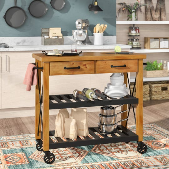 A rolling kitchen cart makes the perfect little helper when hosting others in your home.