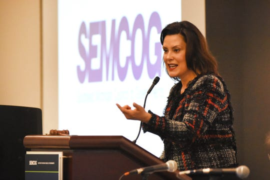 Gov. Gretchen Whitmer, seen giving the keynote address at the March 14 SEMCOG meeting in Detroit, has given 18 public presentations on her 45-cent fuel tax plan.