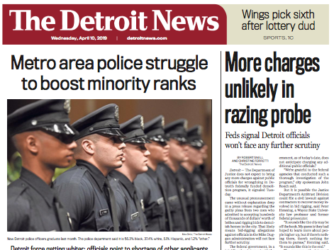 The front page of The Detroit News on Wednesday, April 10, 2019.