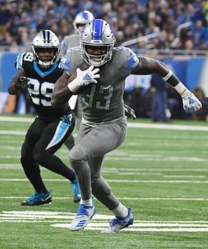 Lions running back Kerryon Johnson will be running on new turf at Ford Field this fall. The turf replacement project will start in May.
