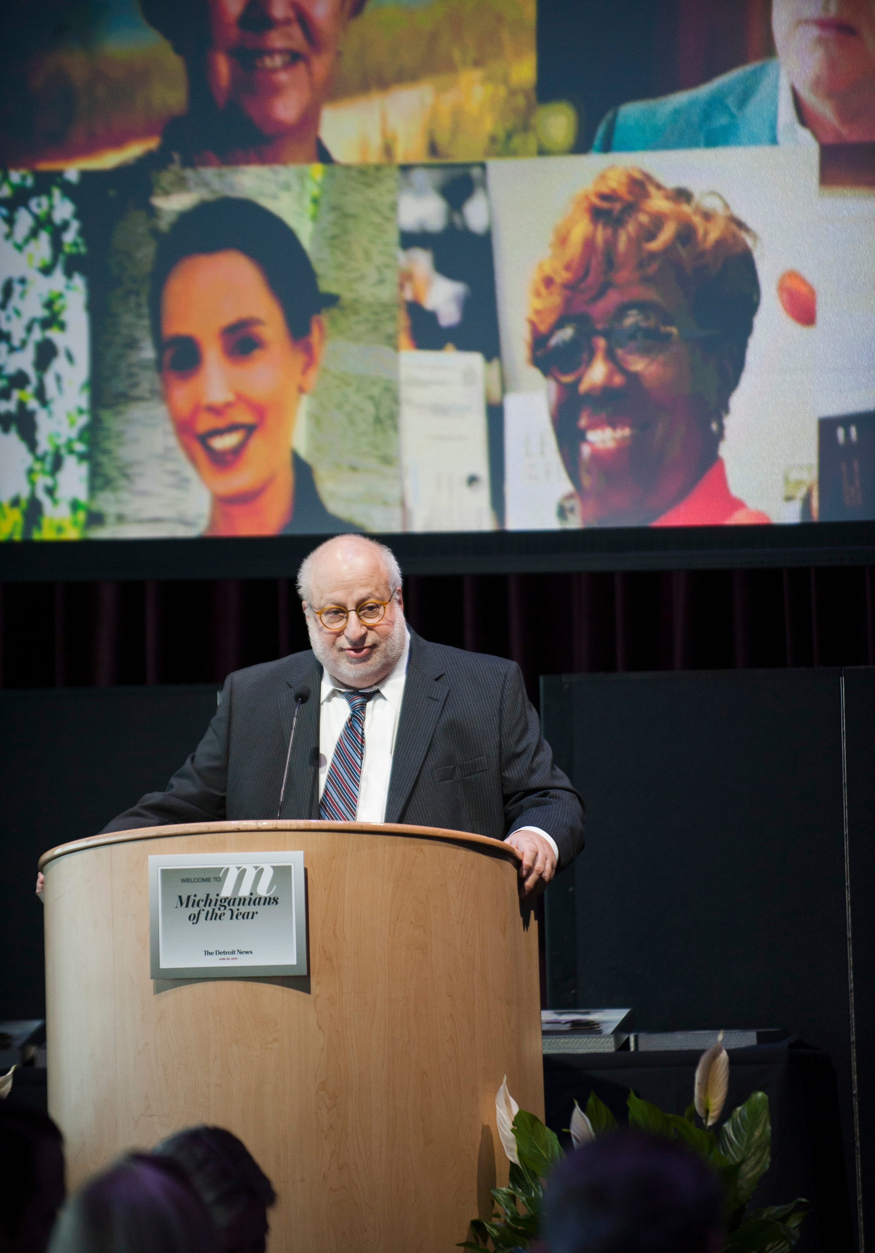 Detroit News editor and publisher Jonathan Wolman addresses the honorees and guests on June 28, 2018, at The Detroit News Michiganians of the Year dinner in Detroit.