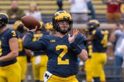 """He's playing at a really big-time level,"" says Michigan offensive coordinator Josh Gattis of quarterback Shea Patterson."