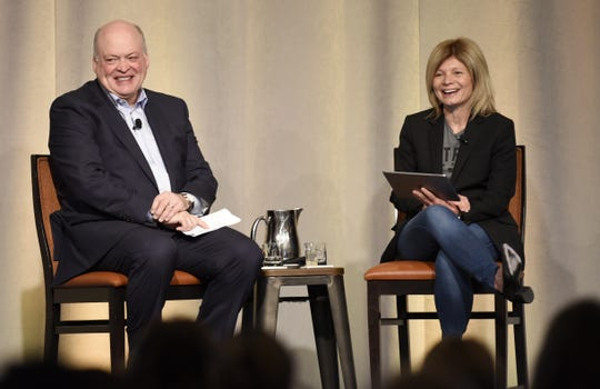 Ford's CEO Jim Hackett and President of Mobility Marcy Klevorn in 2017. Klevorn will retire, and Joe Hinrichs and Jim Farley assume new responsibilities to become the only two presidents at Ford, the automaker said Wednesday.