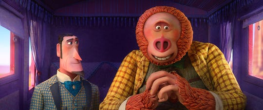 """Hugh Jackman and Zach Galifianakis voice characters in """"Missing Link."""""""