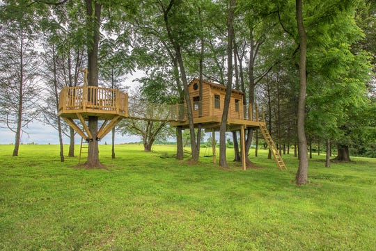 This Chester County, Pennsylvania, treehouse was built for a backyard adventure. With an 8-by-12-foot treehouse connected via rope bridge to a 10-foot octagonal lookout deck, this setup features a 115-foot zip line.