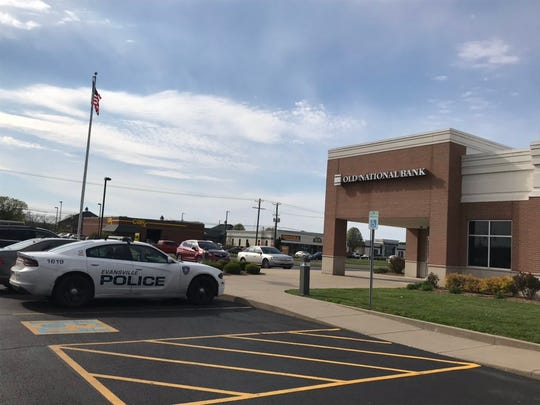 Evansville Police responded to a report of an attempted robbery at Old National Bank on Burkhardt Road on Wednesday, April 10, 2019.