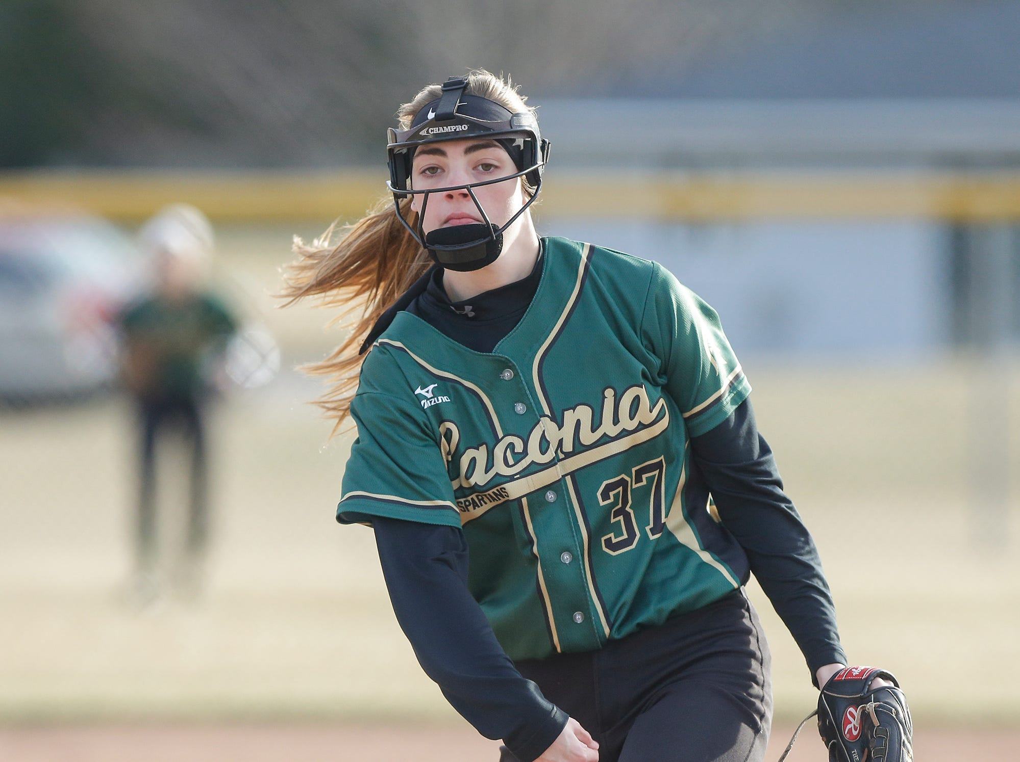 Laconia High School softball's Maci Grade pitches against Winnebago Lutheran Academy April 9, 2019 during their game in Fond du Lac, Wis. Laconia won the game 25-9. Doug Raflik/USA TODAY NETWORK-Wisconsin