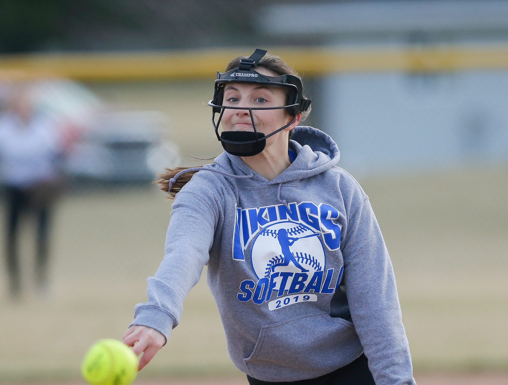 Winnebago Lutheran Academy softball's Shania Shea pitches against Laconia High School April 9, 2019 during their game in Fond du Lac, Wis. Laconia won the game 25-9. Doug Raflik/USA TODAY NETWORK-Wisconsin
