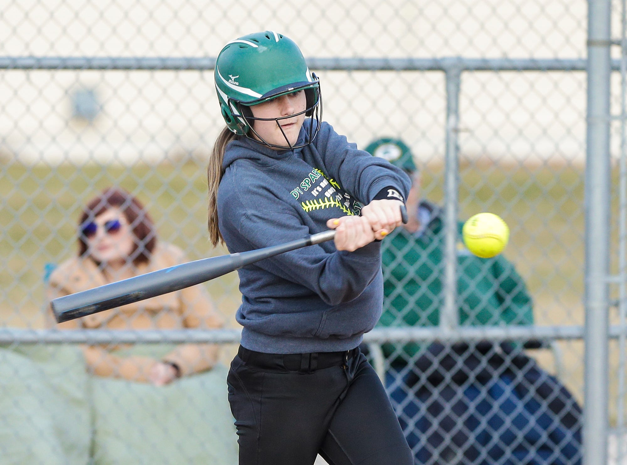 Laconia High School softball's Kennedy Krohn hits a grand slam against Winnebago Lutheran Academy April 9, 2019 in the 5th inning during their game in Fond du Lac, Wis. Laconia won the game 25-9. Doug Raflik/USA TODAY NETWORK-Wisconsin