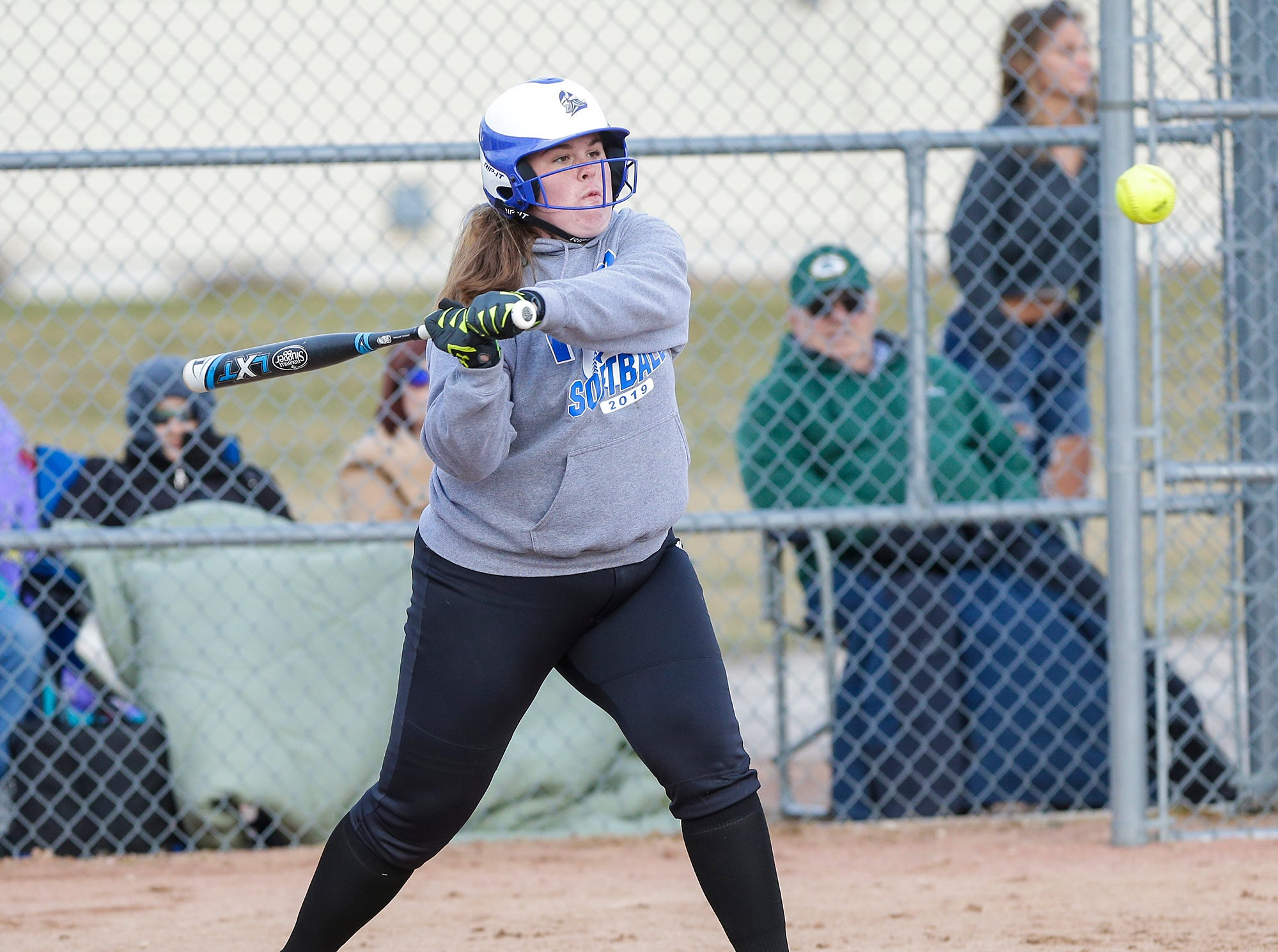 Winnebago Lutheran Academy softball's Brooklin Kingsland hits a single in the third inning against Laconia High School April 9, 2019 during their game in Fond du Lac, Wis. Laconia won the game 25-9. Doug Raflik/USA TODAY NETWORK-Wisconsin