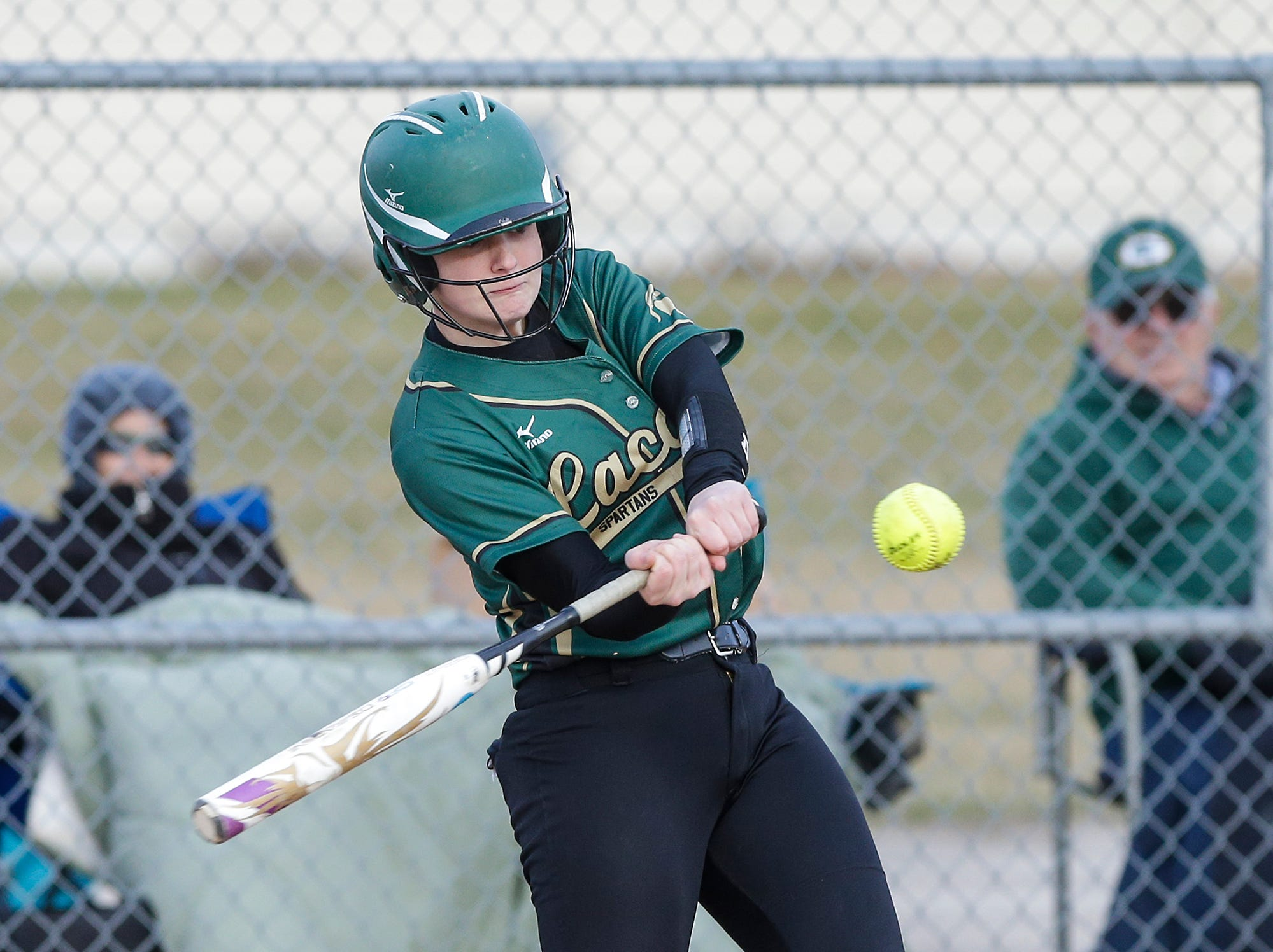 Laconia High School softball's Faith Weed swings at a pitch against Winnebago Lutheran Academy April 9, 2019 during their game in Fond du Lac, Wis. Laconia won the game 25-9. Doug Raflik/USA TODAY NETWORK-Wisconsin