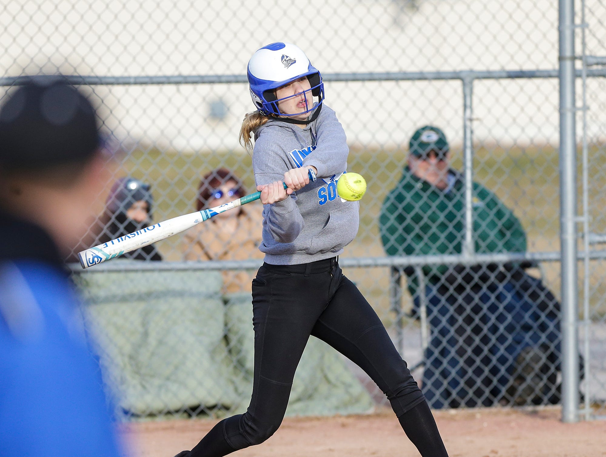 Winnebago Lutheran Academy softball's Kaylee Frey hits a three run double against Laconia High School April 9, 2019 during their game in Fond du Lac, Wis. Laconia won the game 25-9. Doug Raflik/USA TODAY NETWORK-Wisconsin