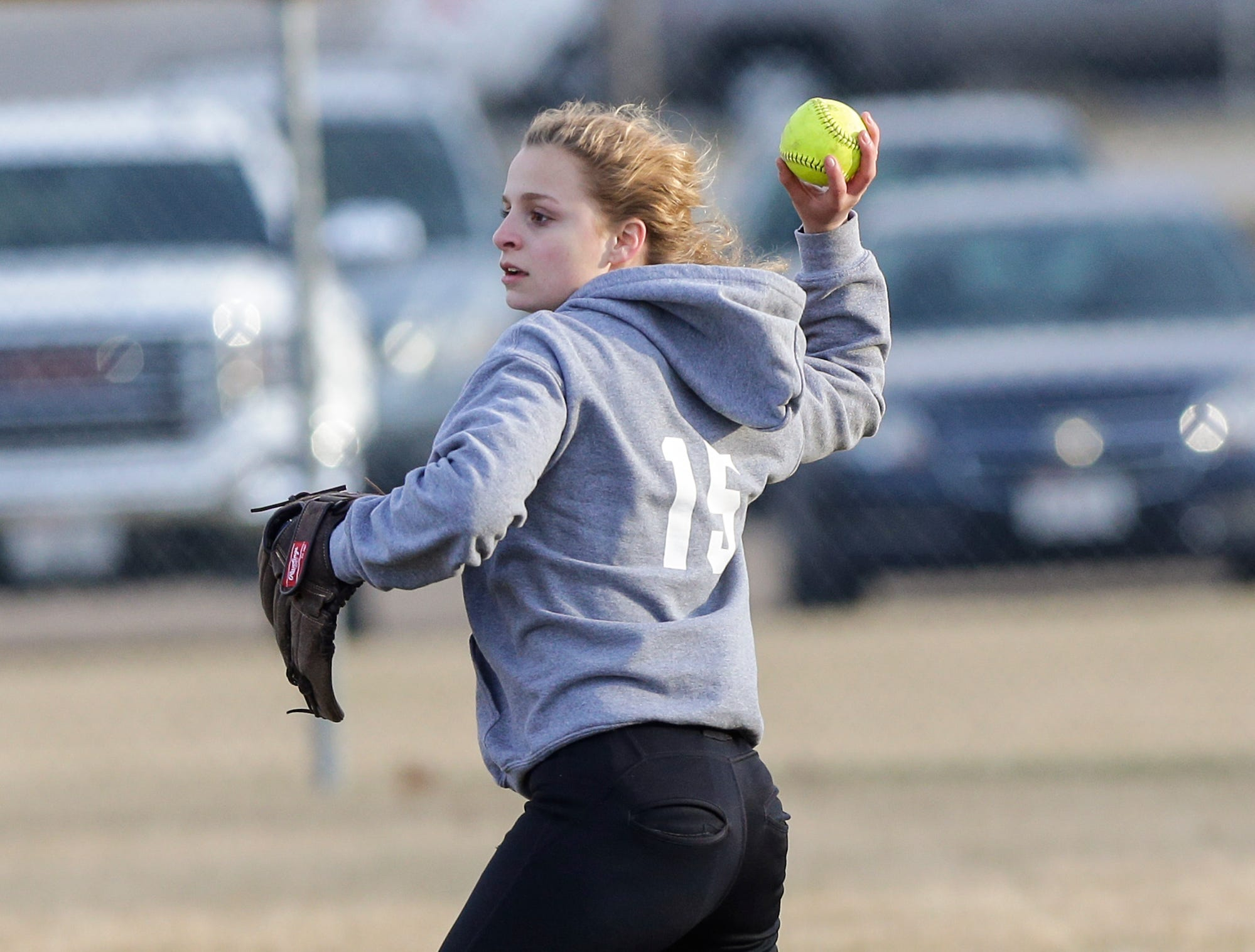 Winnebago Lutheran Academy's softball's Maddie Loehr fields a ball against Laconia High School April 9, 2019 during their game in Fond du Lac, Wis. Laconia won the game 25-9. Doug Raflik/USA TODAY NETWORK-Wisconsin