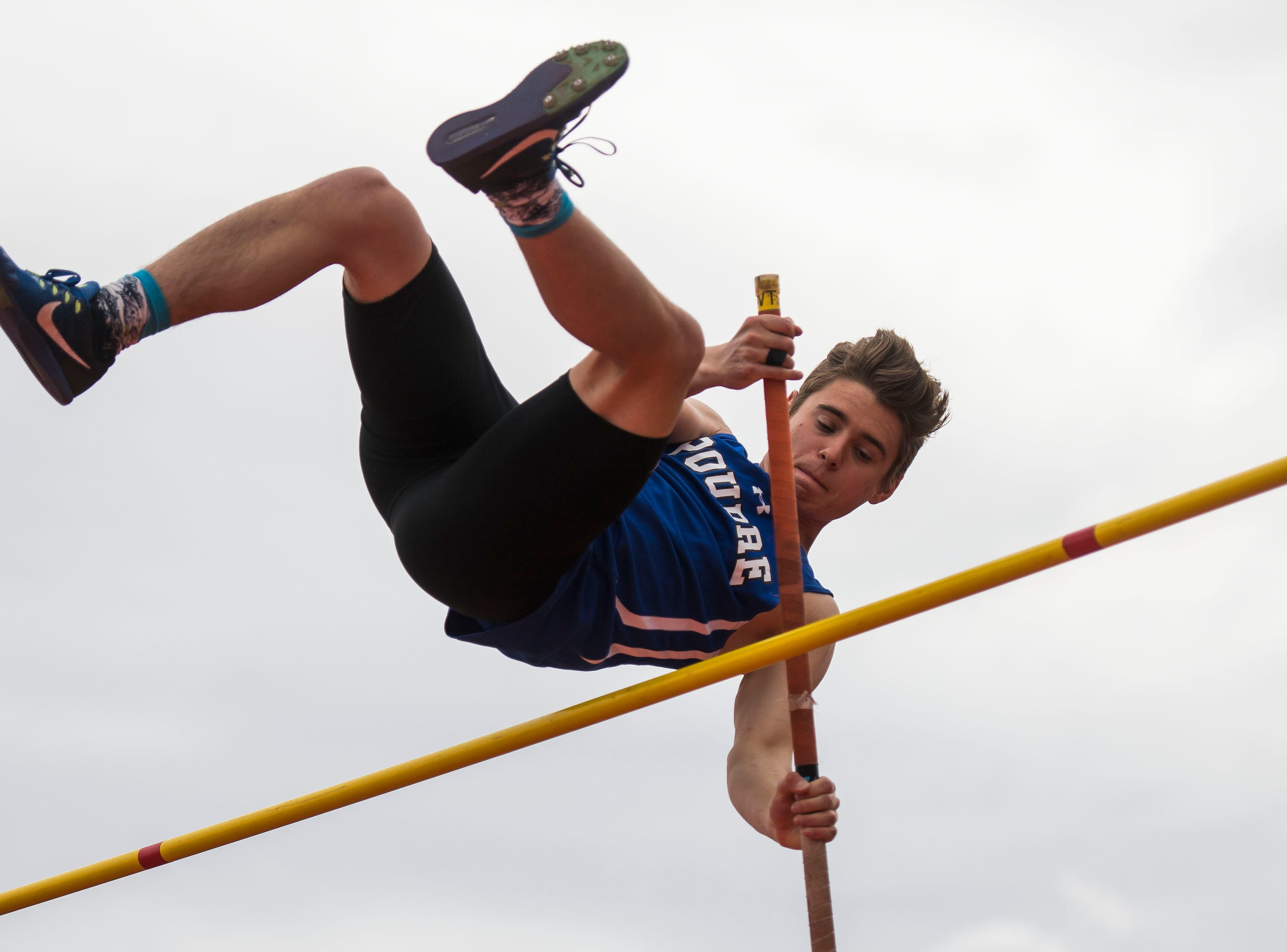 Poudre's William Undy competes in the boys pole vault during the Randy Yaussi City Track Championships on Tuesday, April 9, 2019, at French Field in Fort Collins, Colo.