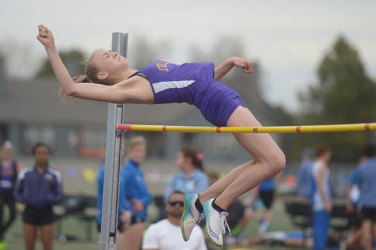 Fort Collins High School's Brooke Naughton competes in the high jump at the Fort Collins city meet at French Field on Tuesday, April 9, 2019. Naughton won the event.