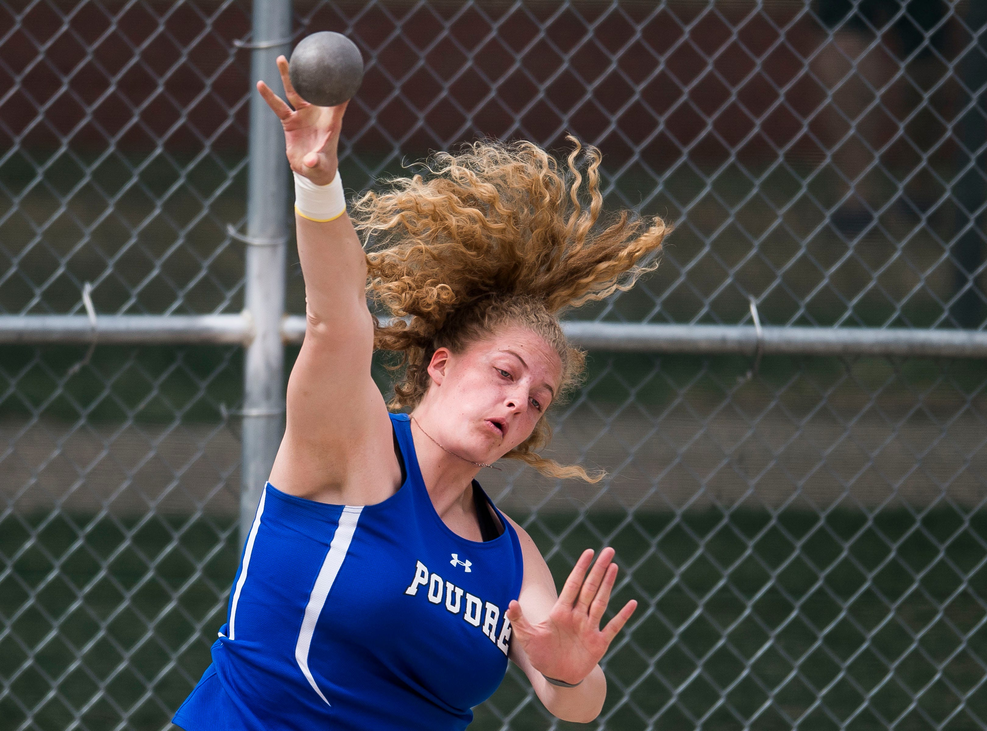 Poudre's Danisa Brost competes in the shot-put during the Randy Yaussi City Track Championships on Tuesday, April 9, 2019, at French Field in Fort Collins, Colo.