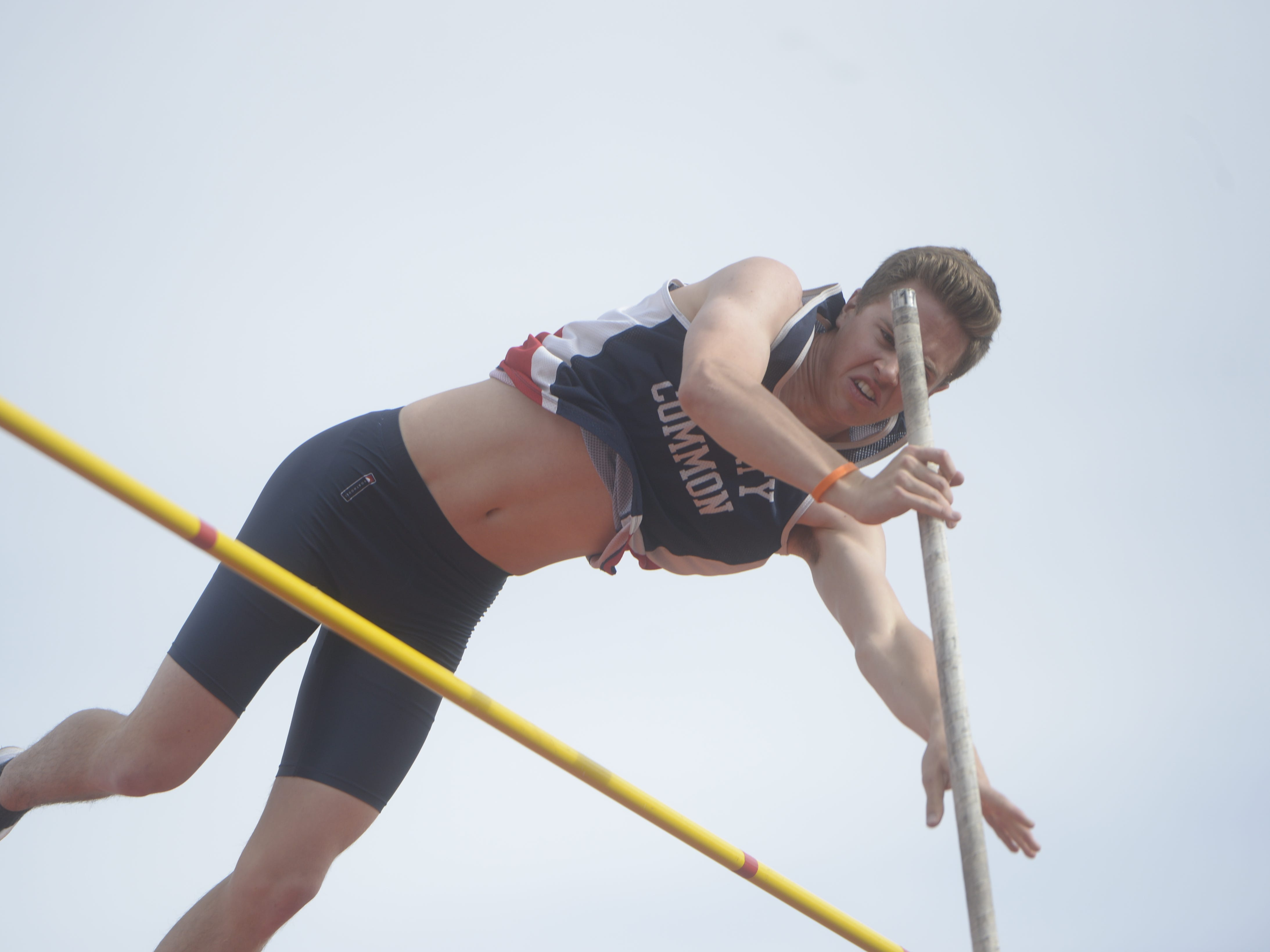Liberty Common's Spencer Hicklin competes in the pole vault at the Fort Collins city meet at French Field on Tuesday, April 9, 2019.