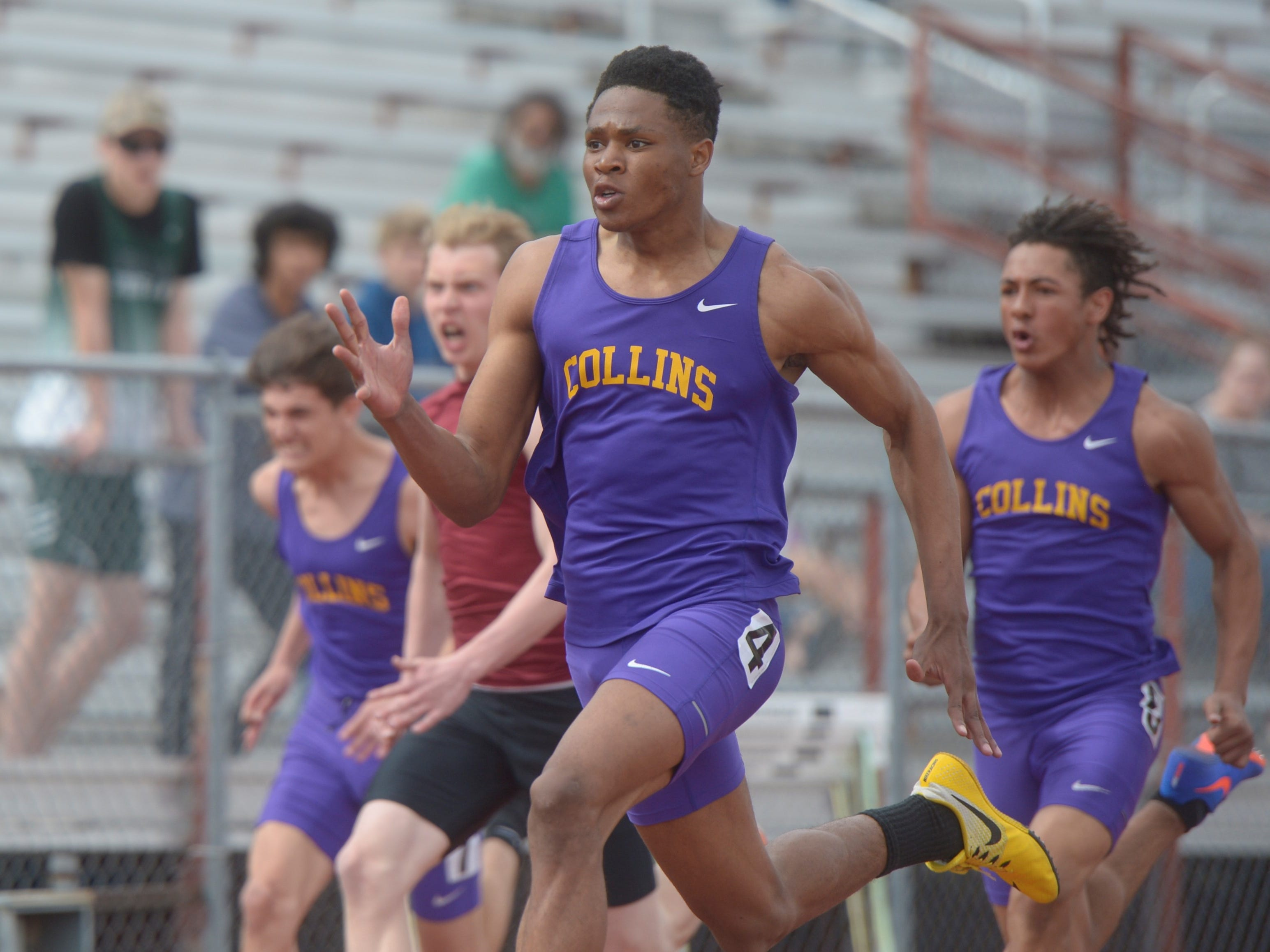 Fort Collins High School's Micaylon Moore runs the 100-meter dash at the Fort Collins city meet at French Field on Tuesday, April 9, 2019.