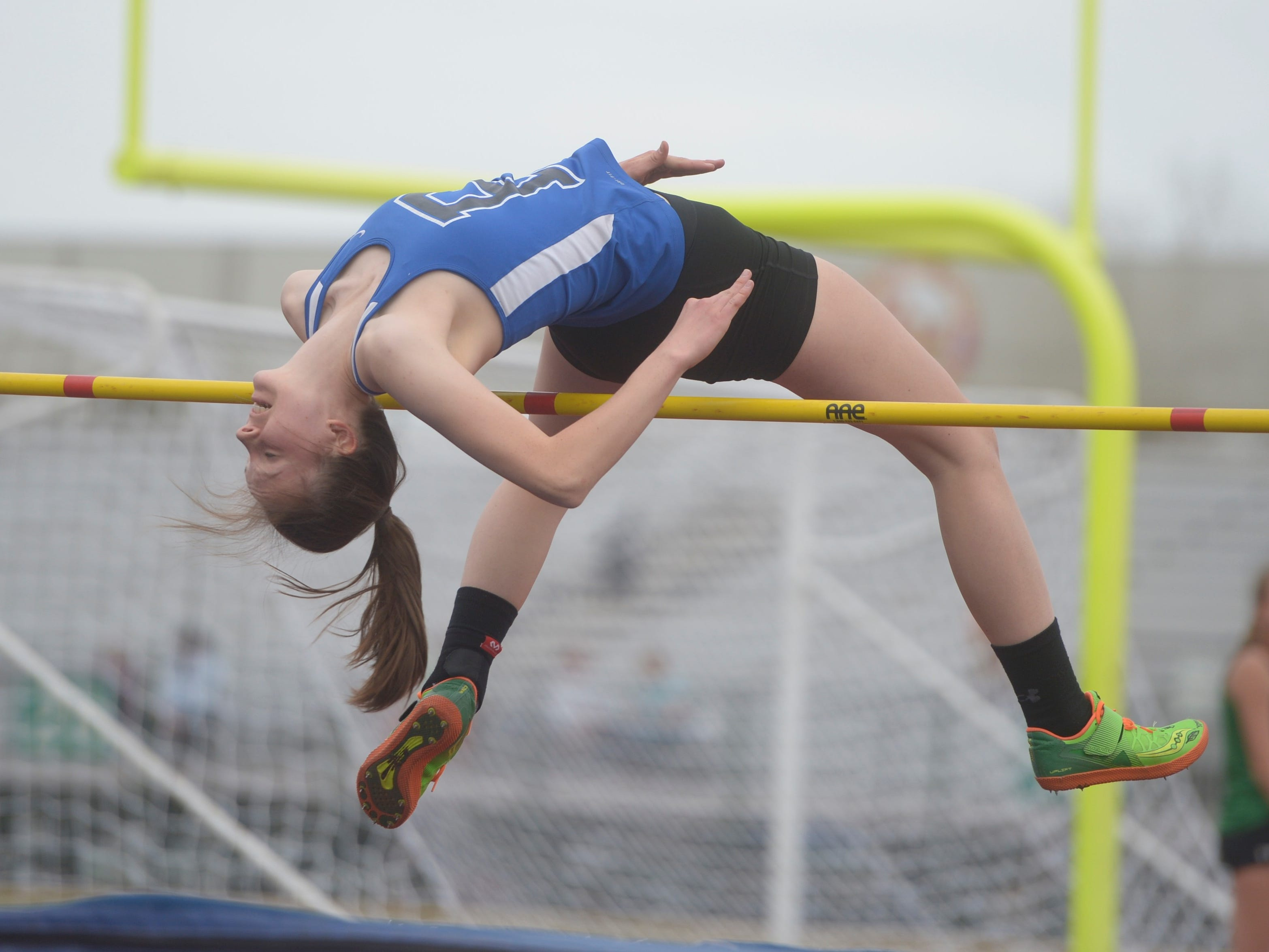 Poudre High School's Riley Endries competes in the high jump at the Fort Collins city meet at French Field on Tuesday, April 9, 2019.