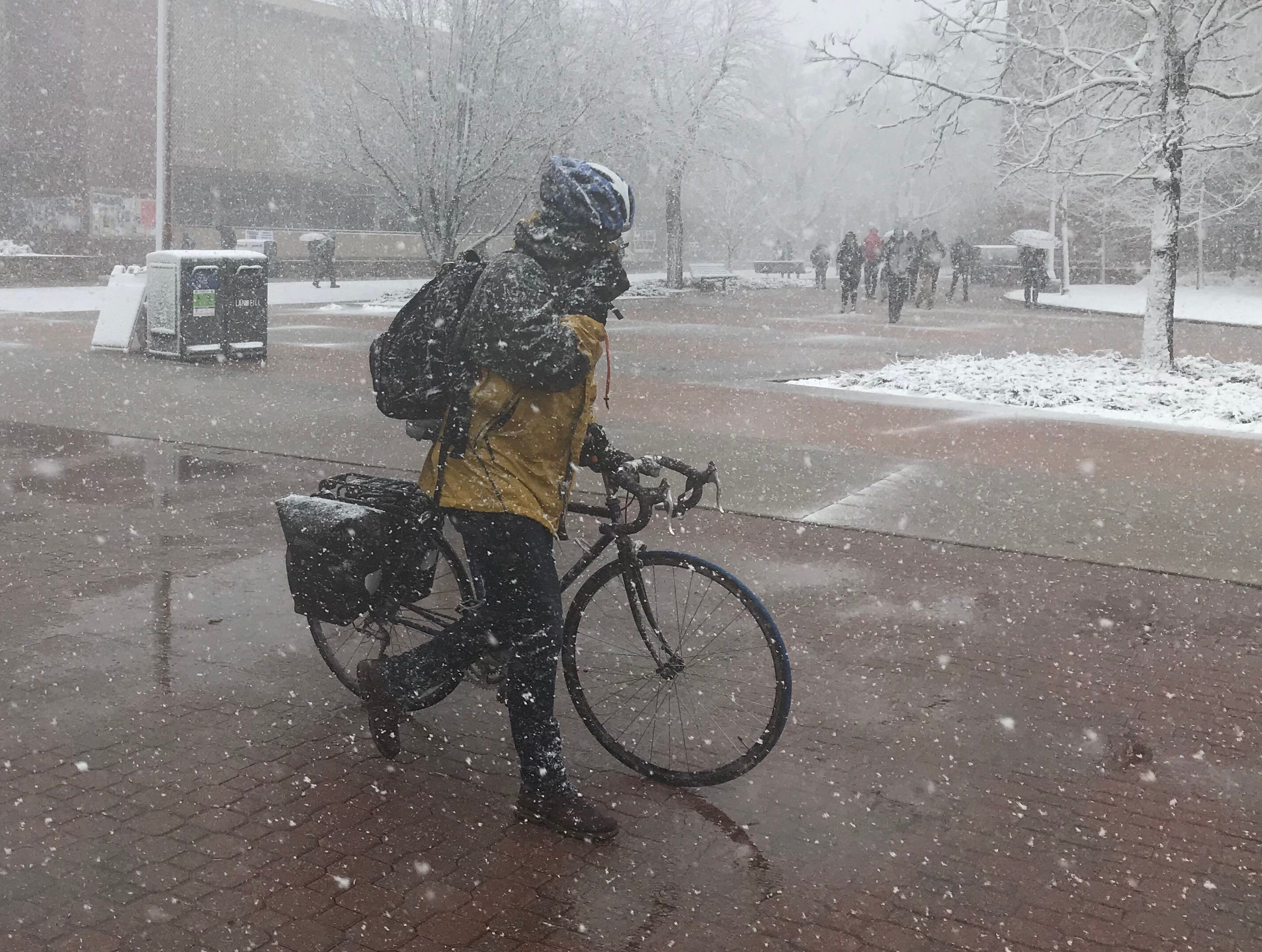 At Colorado State University: Scenes from the Northern Colorado snowstorm on April 10, 2019.