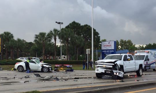 A multi-vehicle crash shut down U.S. 41 in Estero on Wednesday, April 10, 2019.
