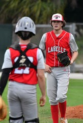 LaBelle pitcher Tyler Nesbitt during the Battle of the Boarder Baseball Tournament in  Fort Myers, Tuesday, April 9, 2019.