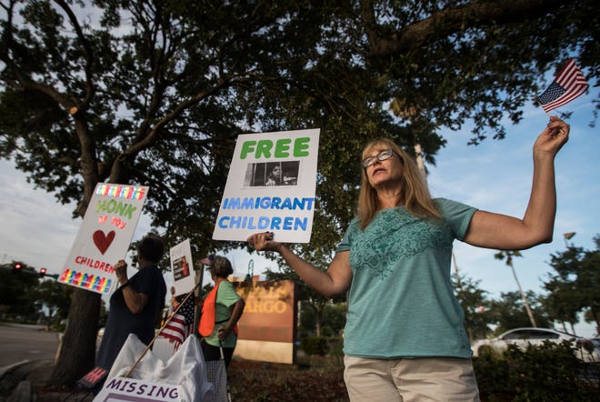 Fort Myers resident Kelly Lawrence was part of a group of people rallying on the corner of Cape Coral Parkway and Del Prado Blvd. Wednesday morning, April 10, 2019. The rally sought to bring awareness to ongoing family separations taking place at places such as the privately owned detention center located in Homestead, FL.