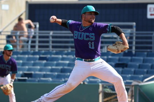 Estero graduate Joey Mugavero has been one of FSW's top relievers this season, pitching to a 1.88 ERA in 10 appearances with two saves. In 24 innings, he's allowed 24 hits with 8 walks and 23 strikeouts.