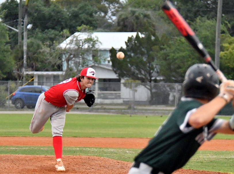 LaBelle pitcher Kyle Nesbitt during the Battle of the Boarder Baseball Tournament in  Fort Myers, Tuesday, April 9, 2019.