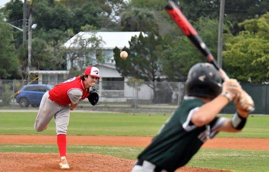 LaBelle pitcher Tyler Nesbitt during the Battle of the Boarder Baseball Tournament in  Fort Myers, Tuesday, April 9, 2019.