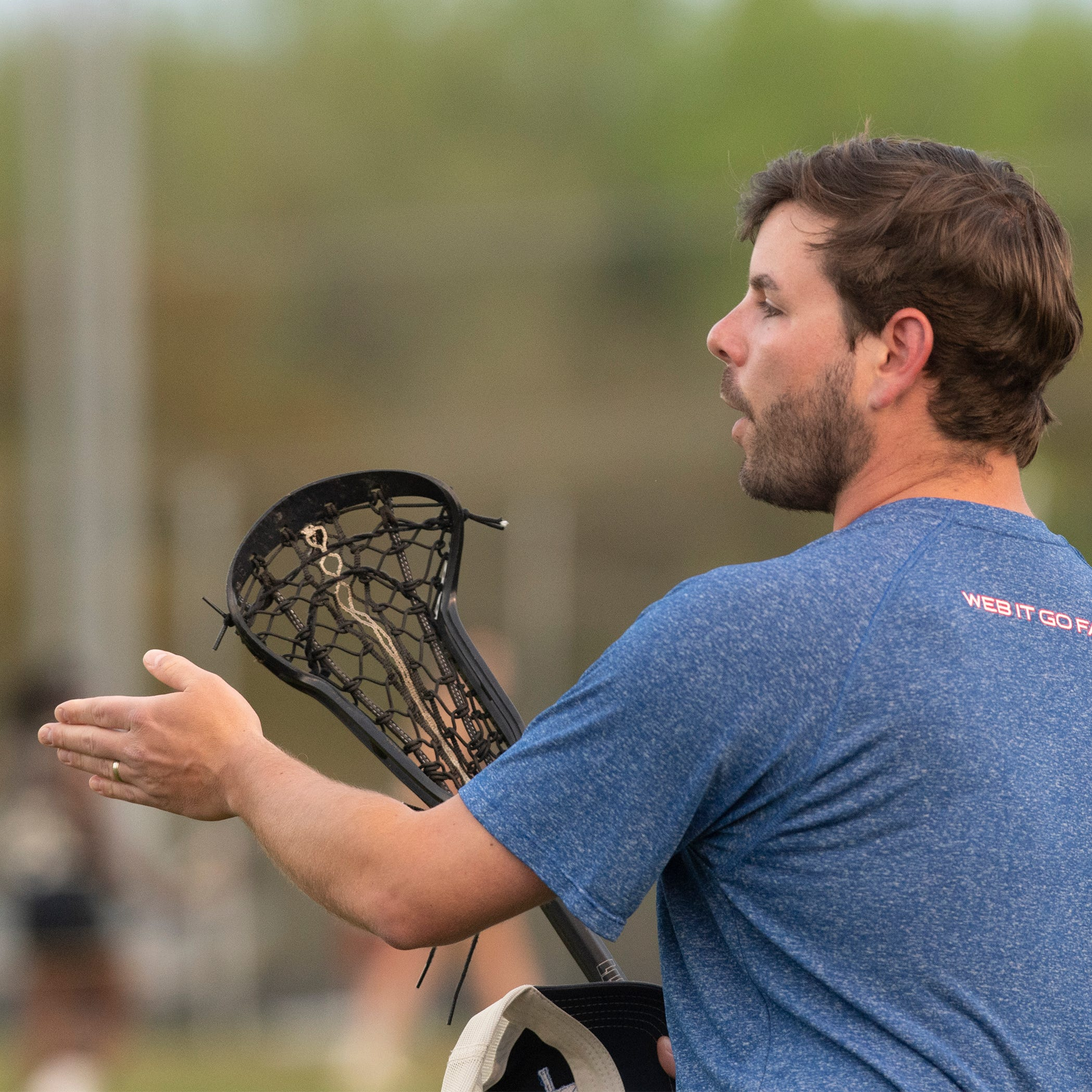 Riverside coach Thomas Riley coaches during the game against Spartanburg at Riverside High School Tuesday, April 9, 2019.