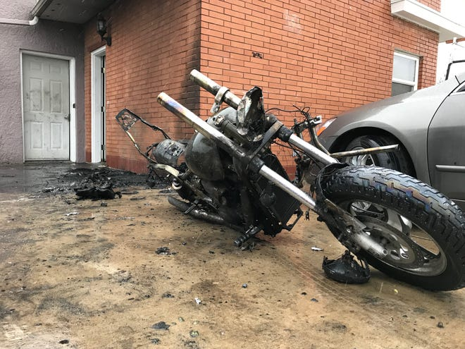 A motorcycle sparked a fire at 15th Street North and Smelter Avenue in Black Eagle in the early morning hours of April 10, 2019.