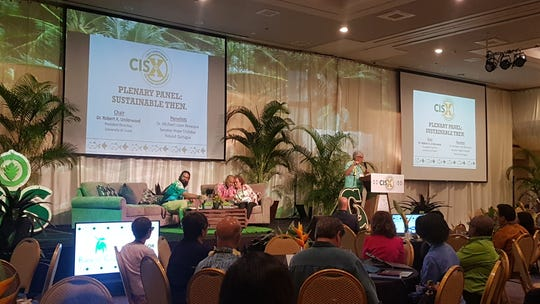 """A panel led by former Guam delegate and University of Guam President Robert Underwood talk about """"Sustainable Then"""" during a discussion at the University of Guam Regional Conference on Island Sustainability at the Hyatt Regency Guam on April 10, 2019."""