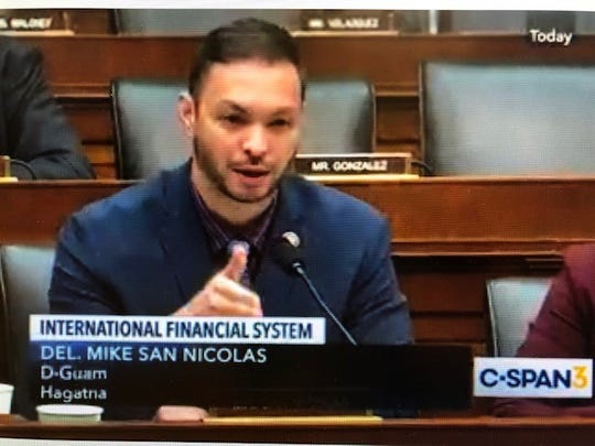 A screen grab of Guam Del. Mike San Nicolas during a congressional committee hearing Tuesday, wherein he asks U.S. Treasury Secretary Steven Mnuchin about Guam's request for the federal government to reimburse Guam for some $56 million in annual earned income tax credit payouts. The federal government pays for states' EITCs but not Guam's.