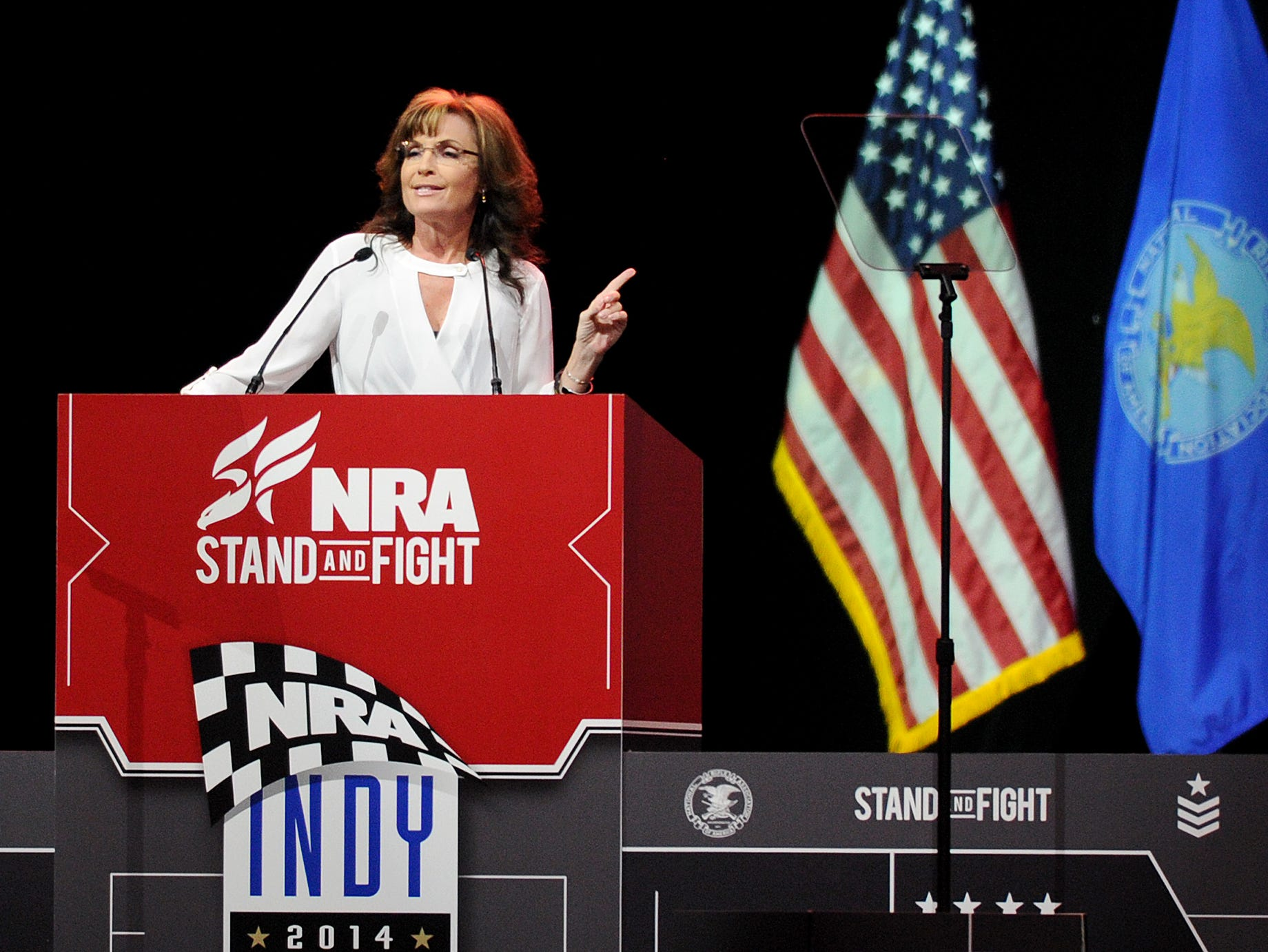 Sarah Palin speaks at the NRA Stand and Fight Rally during the 143rd National Rifle Association Annual Meeting at Lucas Oil Stadium, Saturday, April 26, 2014, in Indianapolis.