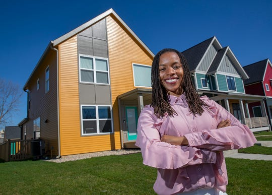 Jesseca Chatman and her new home on the 1700 block of Alvord Street in Indianapolis on Tuesday, April 9, 2019. Jesseca and her husband Charles Chatman Jr. used a program called Edge Fund to help them get into the home and neighborhood that they wanted.