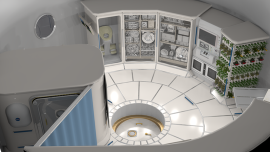 Illustration of the interior of a deep space habitat.