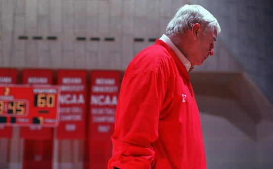 11/1/98--Indiana University Head Coach Bob Knight paces the sidelines during the Hoosiers win over the North Melbourne Giants Saturday afternoon at Assembly Hall. Knight has led the Hoosier basketball program since 1973. (Staff Photo/Eric Kane) file # 33698 with story