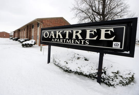 The Oaktree Apartments at 42nd and Post roads, shown in 2014 as it was being shut down by the Marion County Health Department because of lack of water for the residents due to frozen pipes.