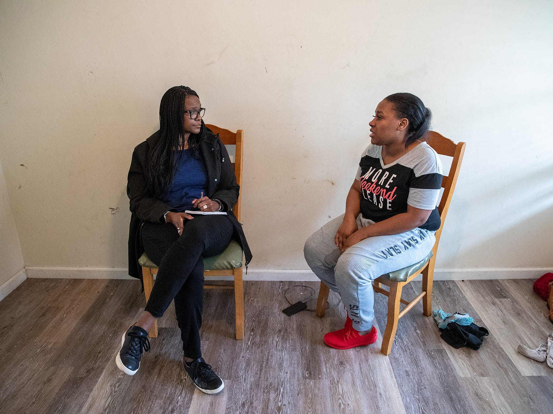 """Suzette Hackney (left), IndyStar director of opinion and community engagement, sits with Latasha Sanders on Wednesday, April 10, 2019. """"Obviously in January you were down and desperate for help,"""" said Hackney. """"So walk me through, why you are where you are now."""" Sanders says that her life is turning around. """"I believe that I am where I am now is because I stayed focus. There was a lot of times I woke up and didn't want to go to work but I was like, """"No, let me get up and go.'"""""""