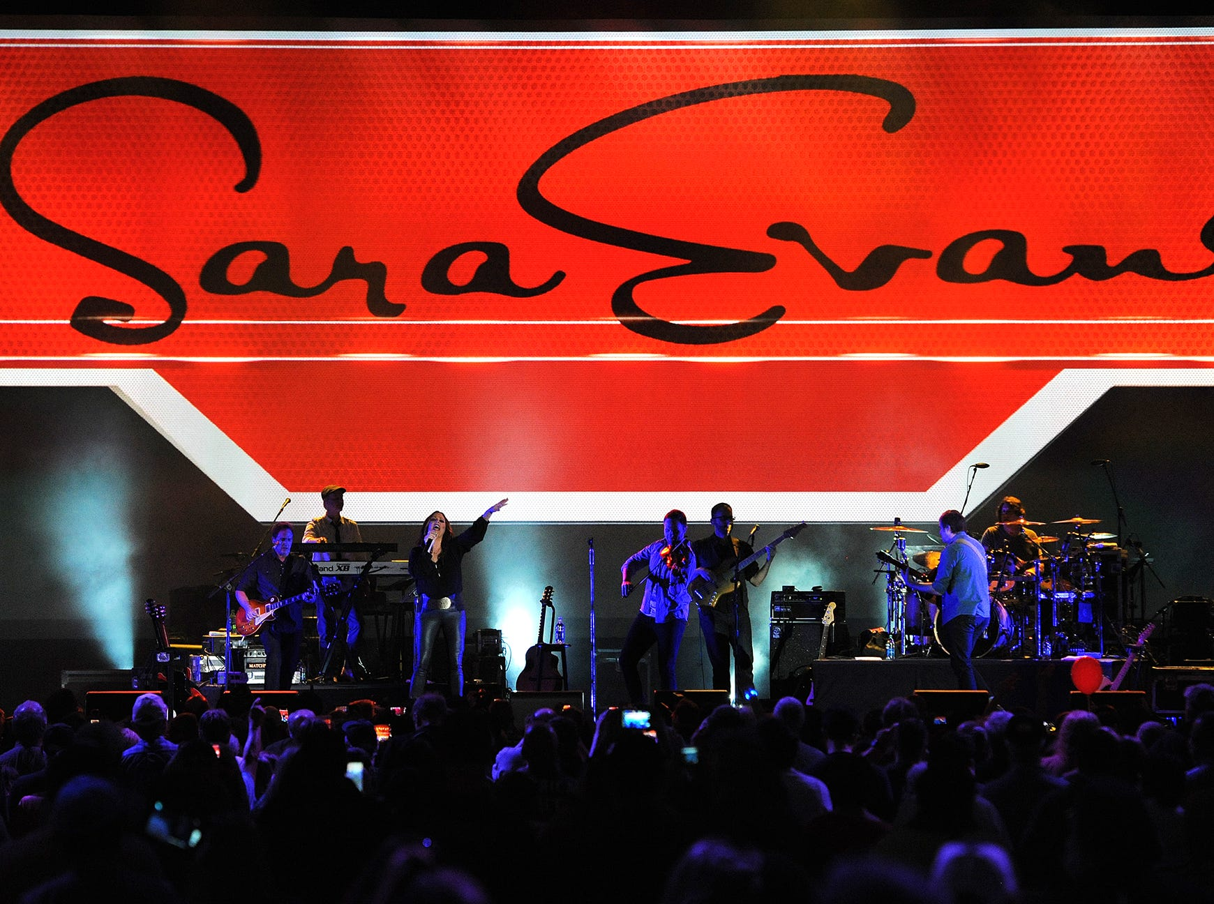 Country music artist Sara Evans performs at the NRA Stand and Fight Rally during the 143rd National Rifle Association Annual Meeting at Lucas Oil Stadium, Saturday, April 26, 2014, in Indianapolis.